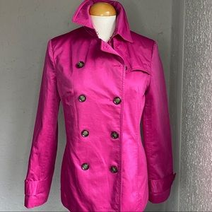 Banana Republic Hot Pink Trench Coat with Buttons